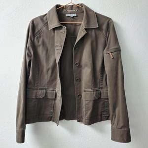 ANN TAYLOR | Military Cargo Button Down Jacket LG